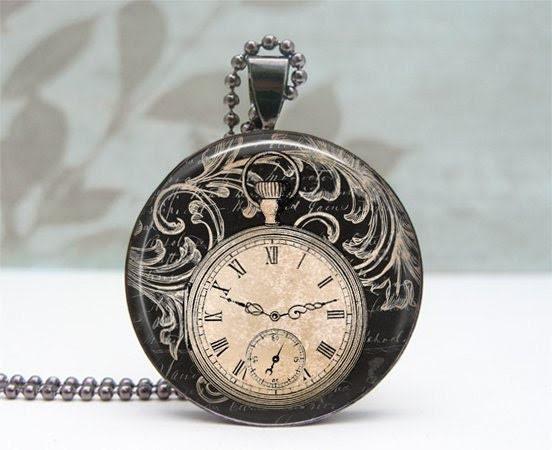 Black Vintage Clock Necklace - Glass Dome Pendant Gunmetal, Picture Pendant, Photo Pendant, Art Pendant by Lizabettas