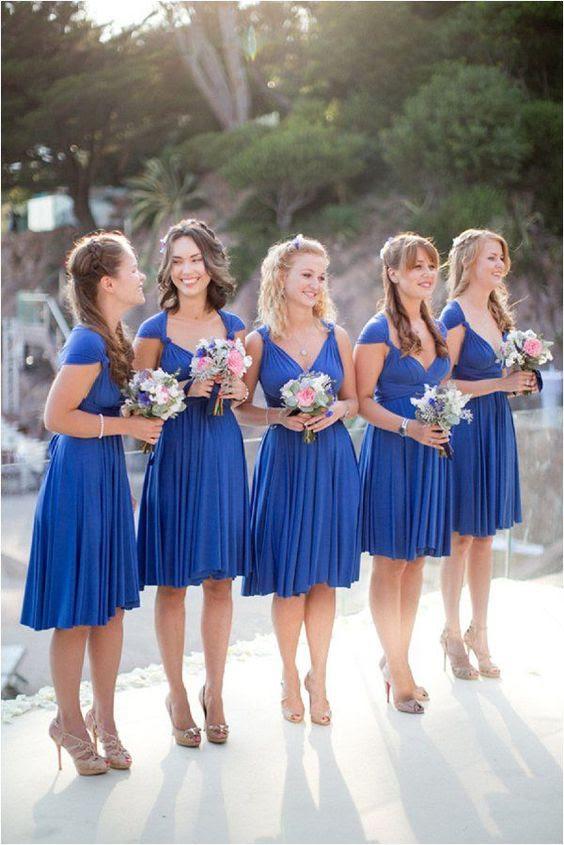 über die Knie royal Blaue Brautjungfern Kleider