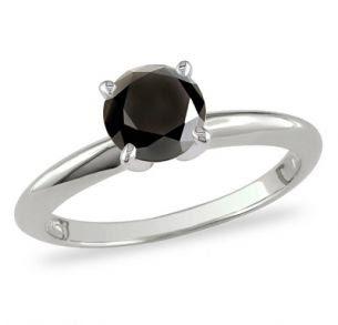 1 CT. Enhanced Black Diamond Ring in 10K White Gold
