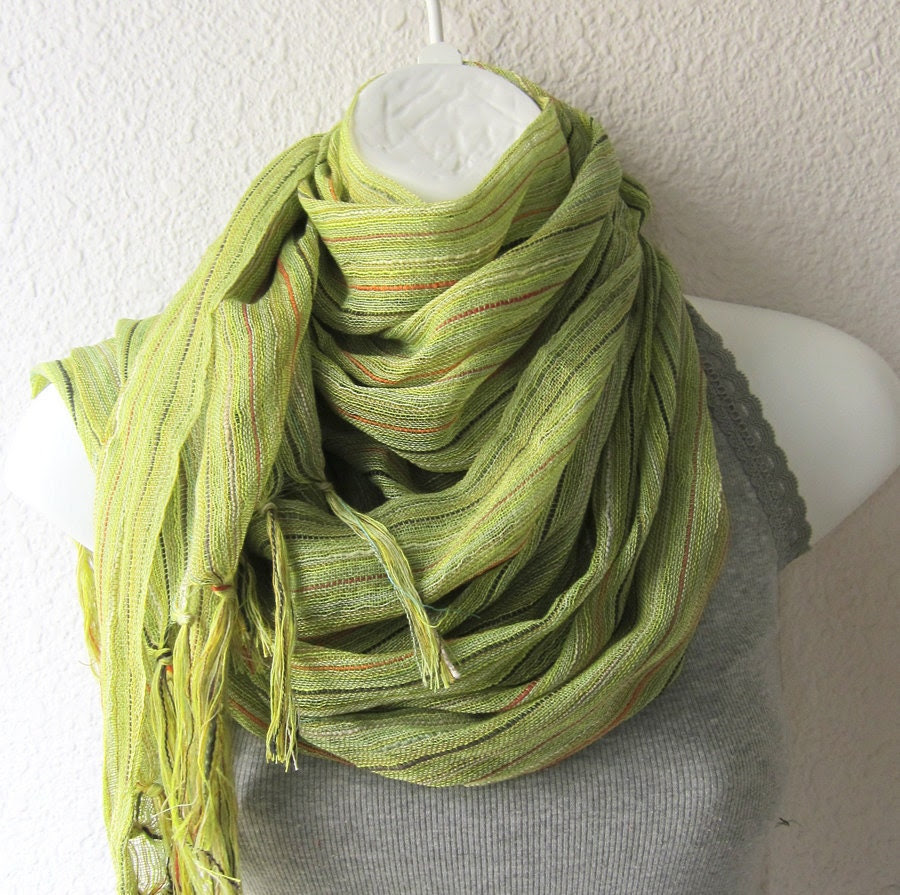 Cotton  Gauze Scarf in Lime Green ..Rustic Necklace Scarf - whitewolfsclouds