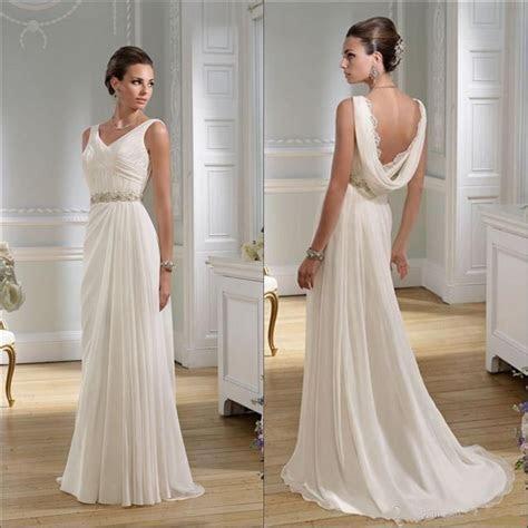 Elegant Wedding Dresses 2016 Beach V Neck A Line Sweep