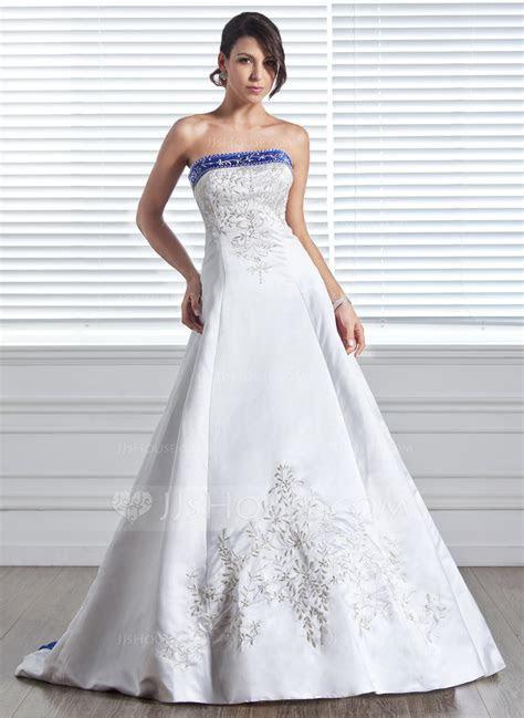 A Line/Princess Strapless Court Train Satin Wedding Dress