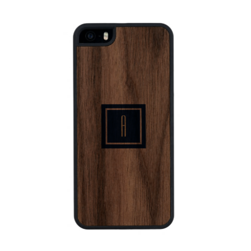 Monogramed Simple Dark Blue Square Carved® Walnut iPhone 5 Slim Case
