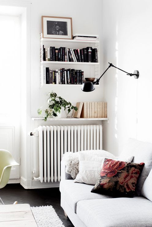 So many great ideas here. Shelf space above a radiator. Even though that plant probably wouldn't like the heat when it came on. But also the wall mount light leaves more floor space for other things or just plain space:)