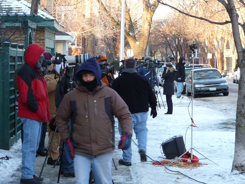 blagojevich house. Press standing on the sidewalk across the street from Blagojevich#39;s house