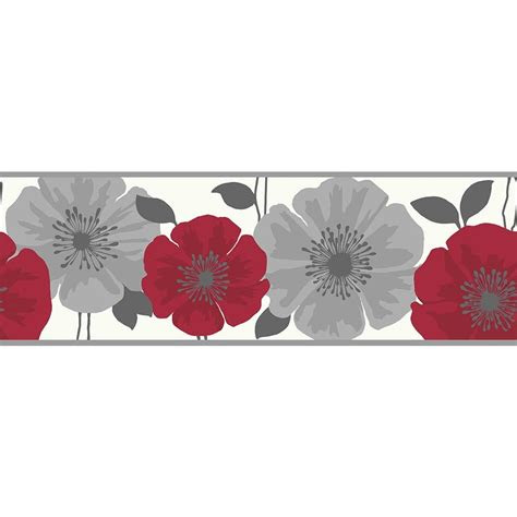 buy fine decor poppie wallpaper border red white silver