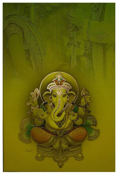 Indian Wedding Card in Lime and Green with Beautiful Ganesha