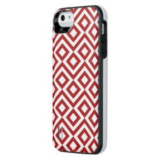 Red and White Meander iPhone SE/5/5S Battery Case