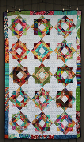 Scrapbuster Swap Round 3 quilt using scrappy depression blocks is finished!