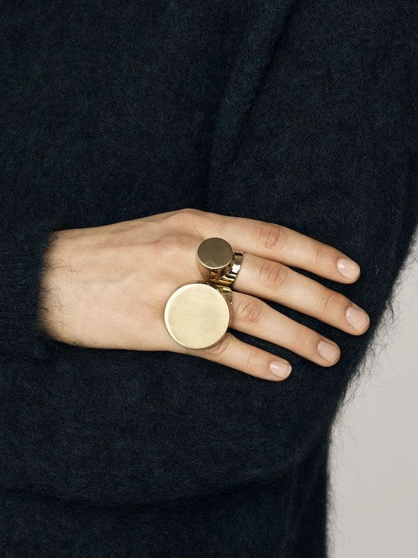 Le Fashion Blog Minimal Statement Rings Disc Circle Ring Fuzzy Angora Sweater Nude Nails Via By Malene Birger