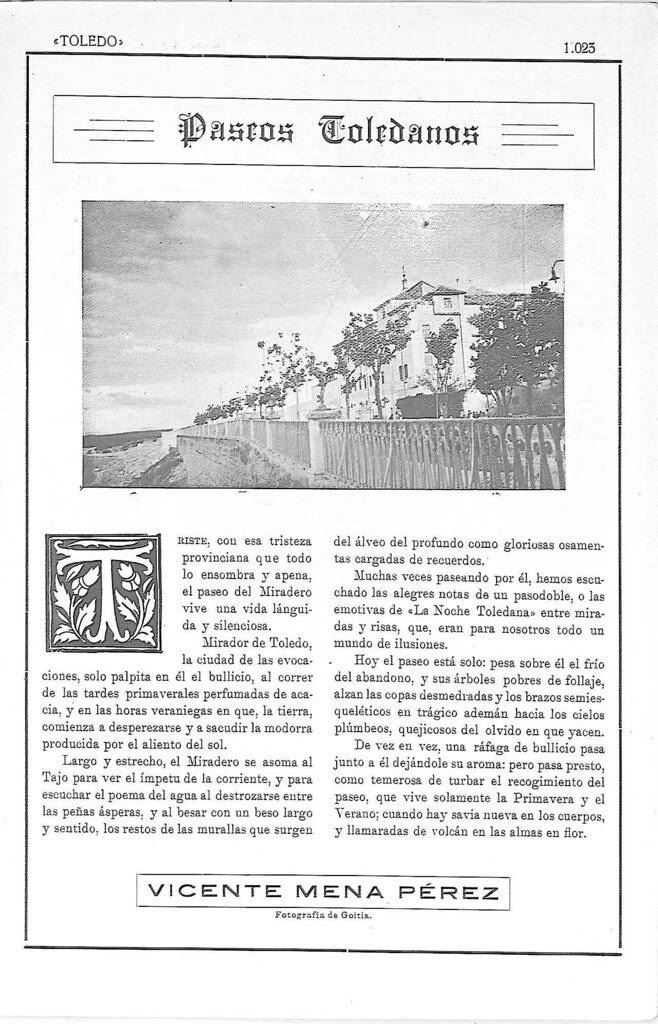Paseo del Miradero en 1924. Revista Toledo