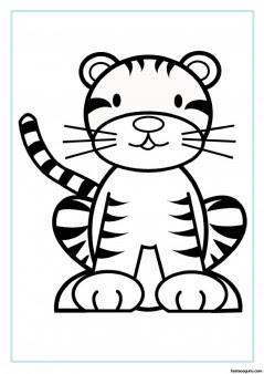 free printable animal tiger baby colouring sheet for kids