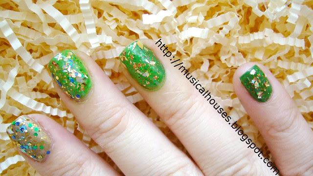 st patricks day nail art glitter gradient 2