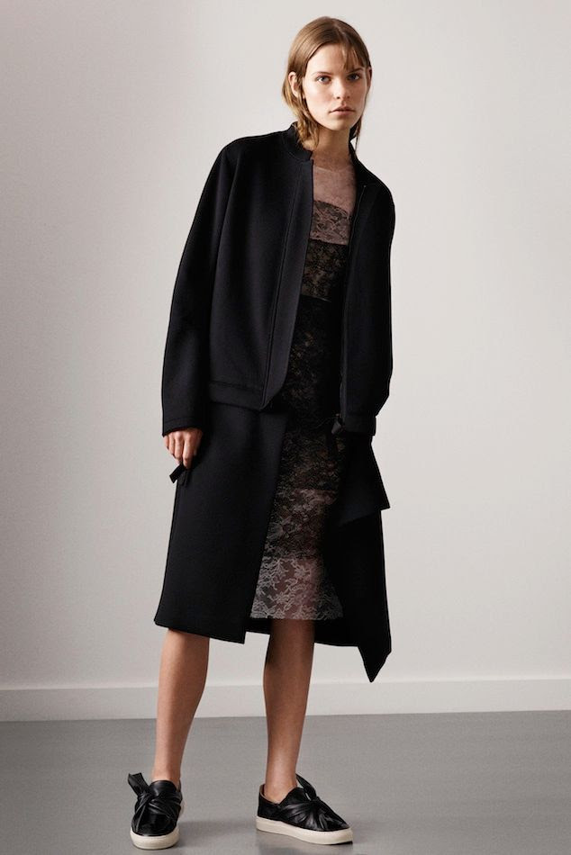Le Fashion Blog Ports 1961 FW 2015 Minimal Black Long Tux Jacket Lace Knee Length Dress Tie Top Slip On Sneakers photo Le-Fashion-Blog-Ports-1961-FW-2015-Minimal-Black-Long-Tux-Jacket-Lace-Knee-Length-Dress-Tie-Top-Slip-On-Sneakers.jpg