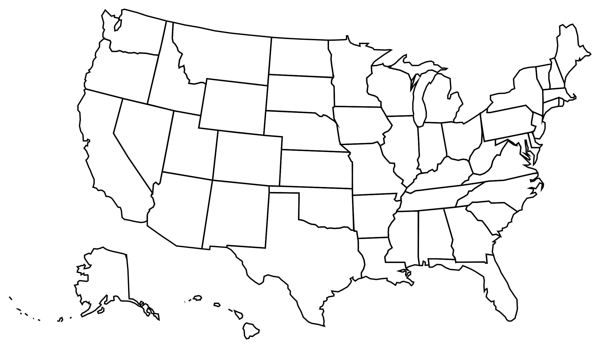Map Of Us Png Download Us Map Silhouette Png | PNG & GIF BASE