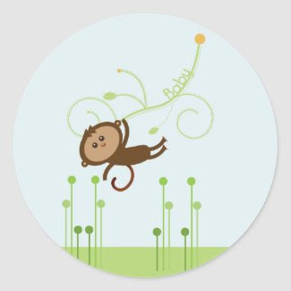 Monkey Baby Shower Cupcake Topper/Sticker sticker