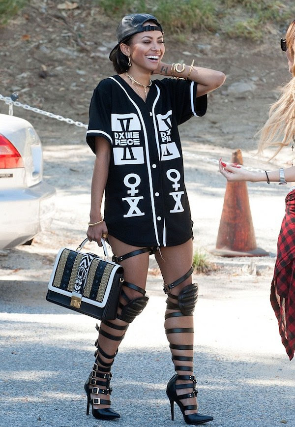 1 Kat Graham's West Hollywood Dime Piece Jersey and Haus von Lila Dogma Knee Pad Gladiator Sandals