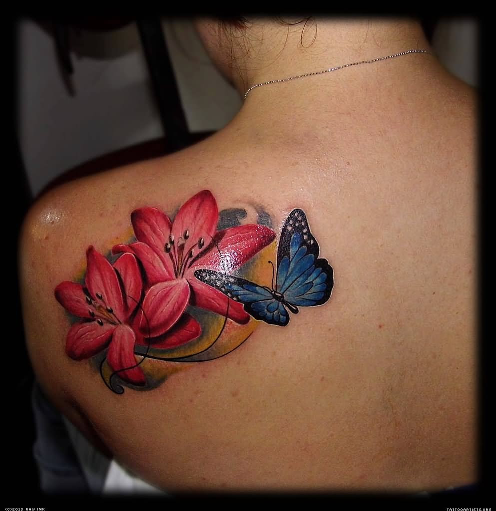 Lotus Flower With Butterfly Tattoo Acharyajpsingh