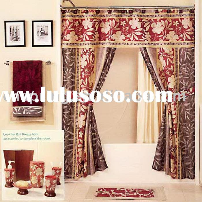 double swag shower curtain with valance, double swag shower