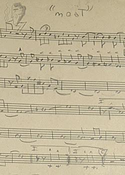 Handgeschreven partituur van John Coltrane (foto: website Guernseys Auction House)