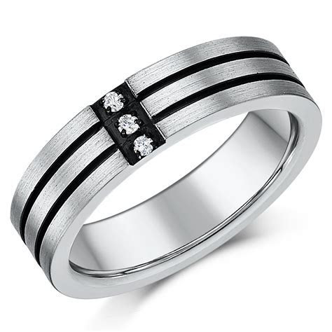 5mm Mens Titanium Three Diamond Two Black Lined Grooved