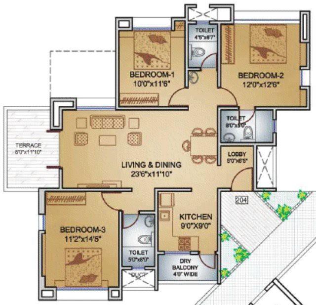 Teerth Towers 3 BHK Flat 993 Carpet+DryBalcony+Terrace