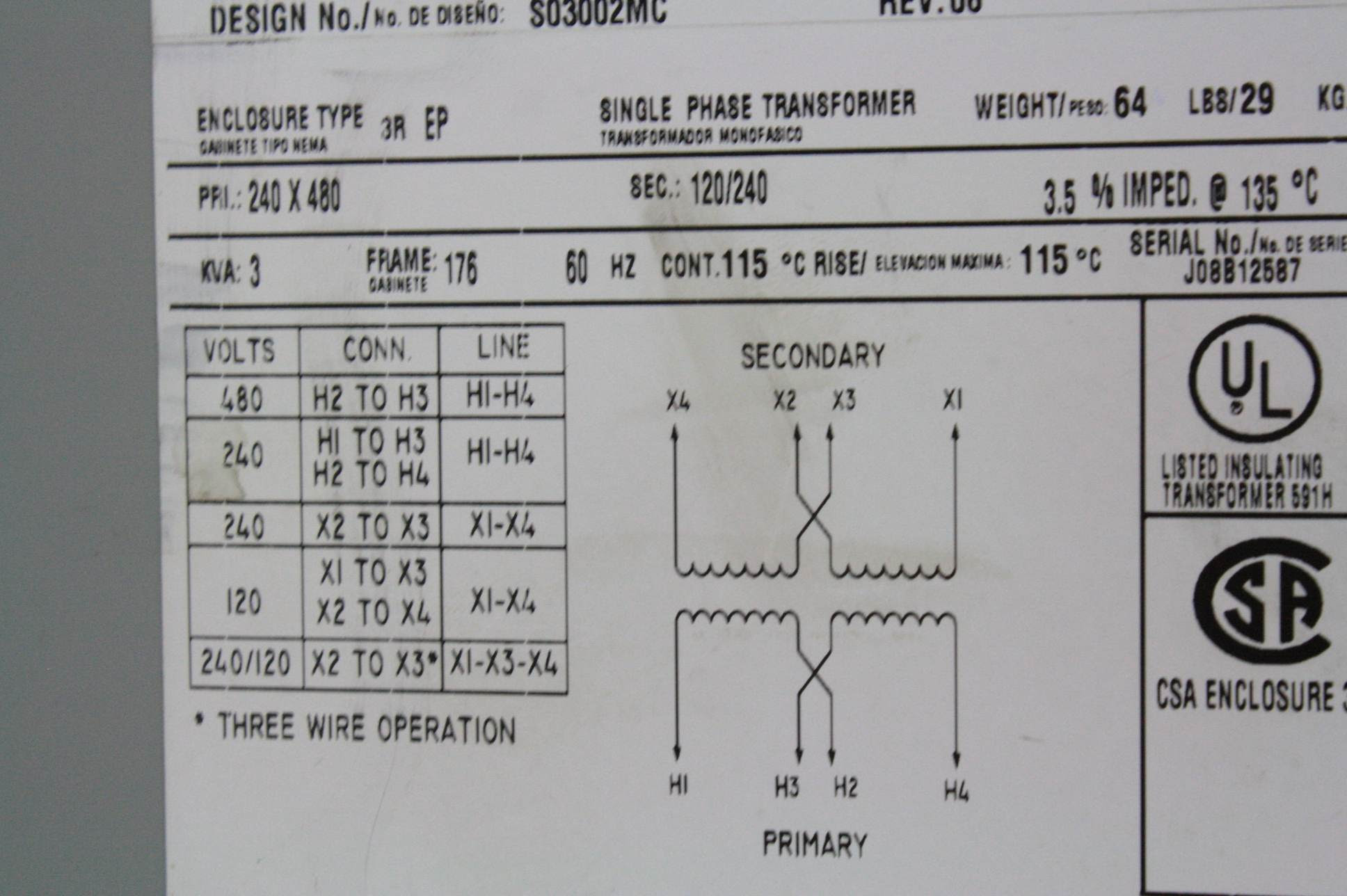 33 480v To 240v Transformer Wiring Diagram
