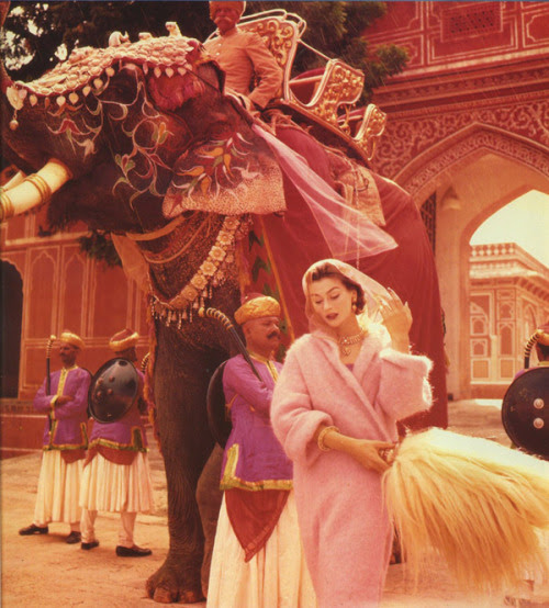 Vogue, November 1956&#160;photographer: Norman Parkinson Suzy Parker<br />India?, vintage, pinks vs oranges<br />Suzy Parker for Vogue, November 1956 by dovima_is_devine<br />Where Are You, Olga?: Norman Parkinson Photography