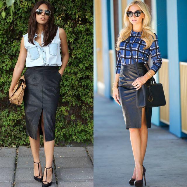 Black bodycon skirt outfit ideas white john