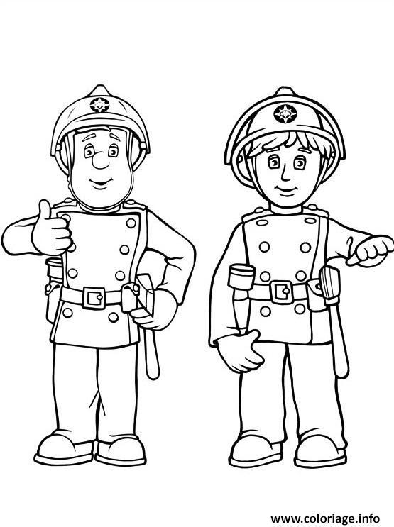 Coloriage Sam Le Pompier Et Son Camarade De La Caserne Jecoloriecom