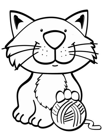 Dibujo De Gato Con Ovillos De Lana Para Colorear Dibujos Para