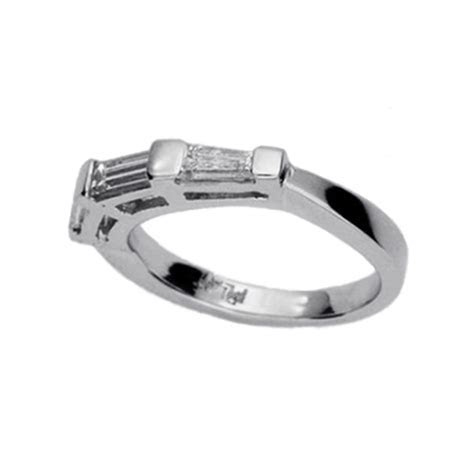 Traditional Platinum Baguette Wedding band   Amore Jewelry