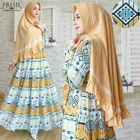 vionna syari gamis motif etnik cantik baju muslim