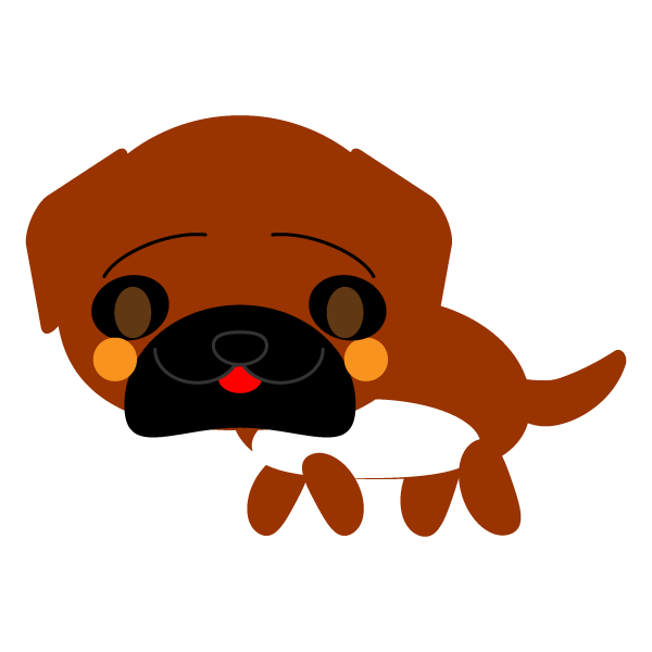 縁無しでかわいい土佐犬の無料イラスト商用フリー オイデ43