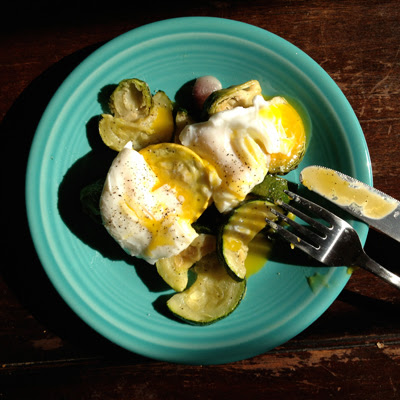 poached egg and squash