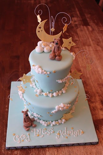 Moon, Stars, and Clouds cake with gum paste Teddies by Andrea's SweetCakes