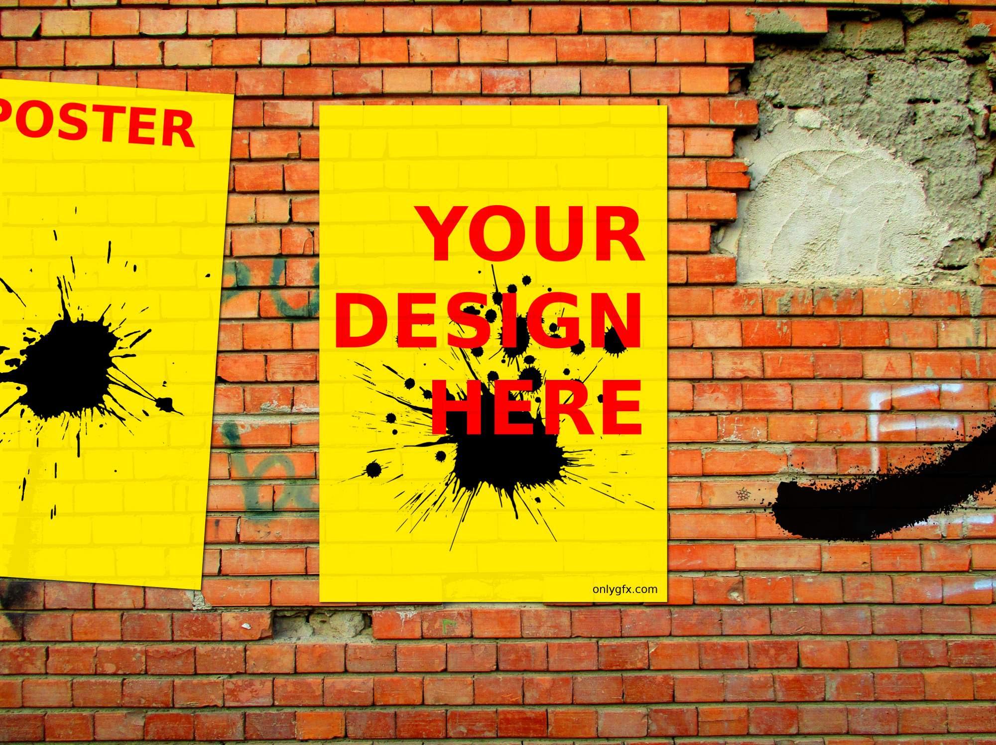 Brick Wall Street Poster Mockup (PSD) | OnlyGFX.com