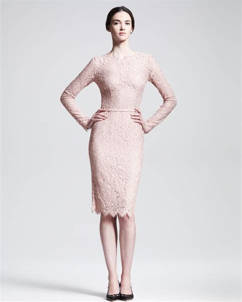lyst dolce gabbana longsleeve belted lace dress  pink