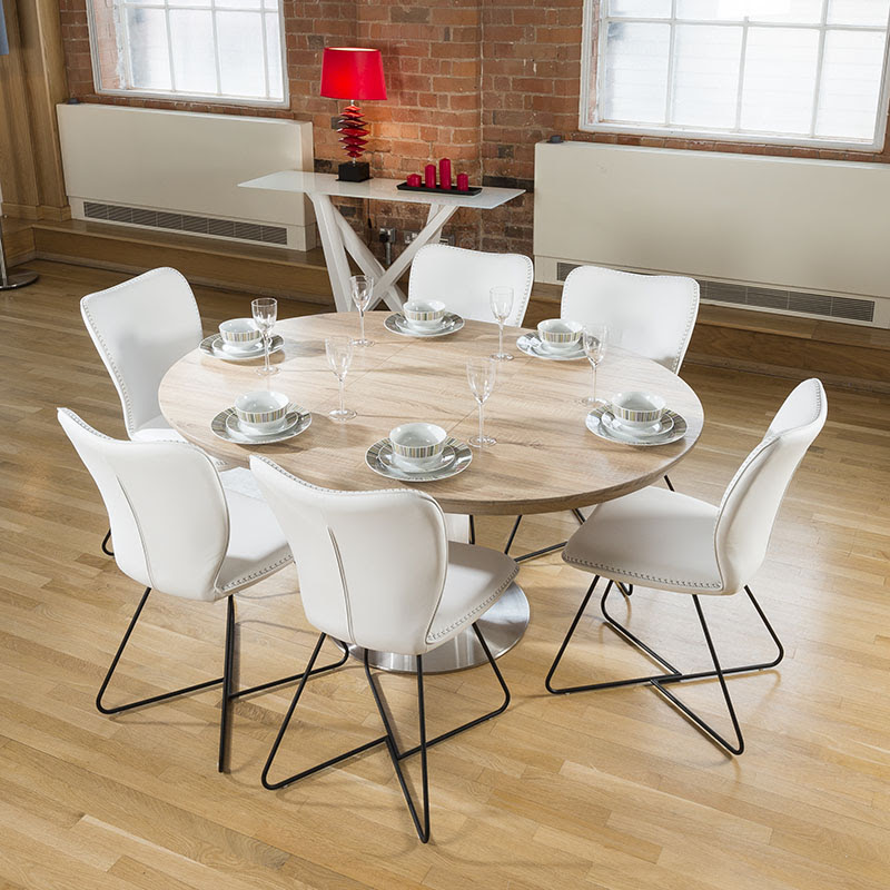 Modern Dining Set Round\/Oval Extending Table  6 High White Chairs 4114  eBay
