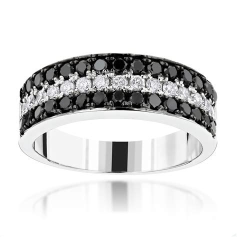 Unique 3 Row White Black Diamond Wedding Band 1.35ct 10K