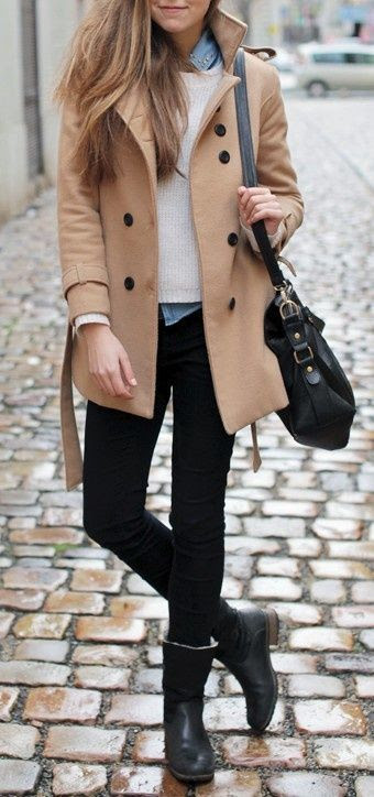 < camel coat, ankle boots >