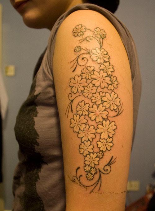 Memorial Flowers Half Sleeve Tattoo