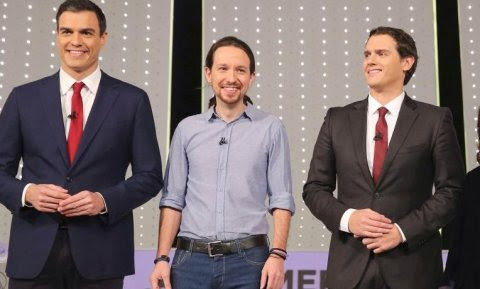 Pedro Sánchez, Pablo Iglesias, Albert Rivera y Soraya Sáenz, en el debate de Atresmedia.