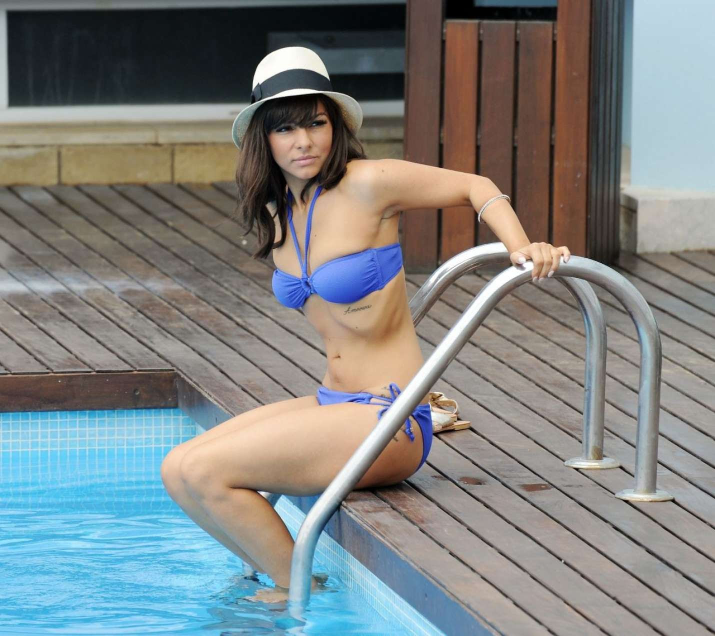 Roxanne Pallett in Blue Bikini at a Pool in Mykonos