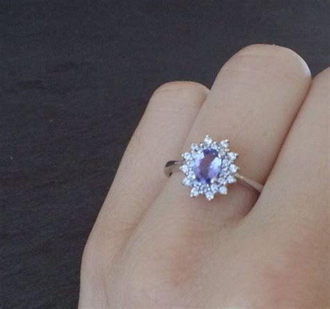 Tanzanite Ring Diamond Ring Purple Engagement Ring by