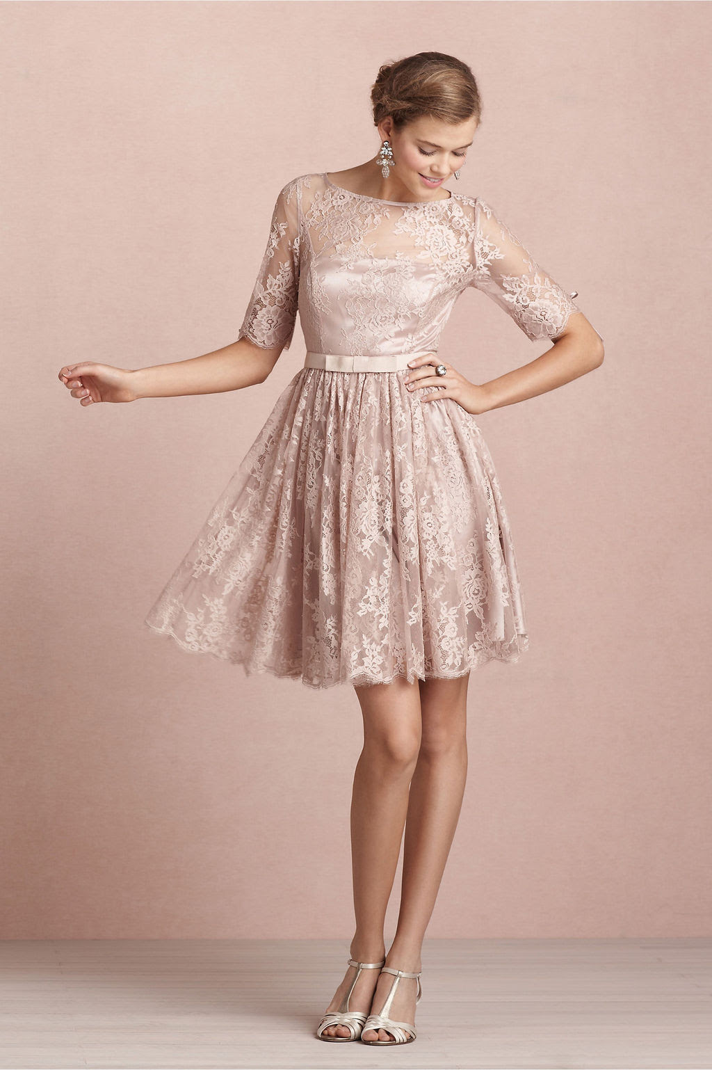Bateau Neck Long Sleeved Lace Pattern Bridesmaid Dress with Bow Ribbon _1