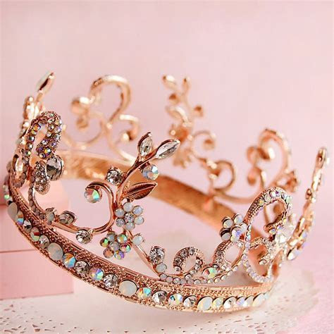 gold colored gem bridal hair jewelry fashion round tiara
