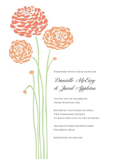 Peach Dahlia Wedding Invitation