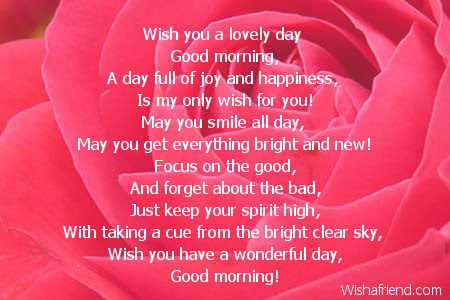 Good Morning Poem Wish You A Lovely Day