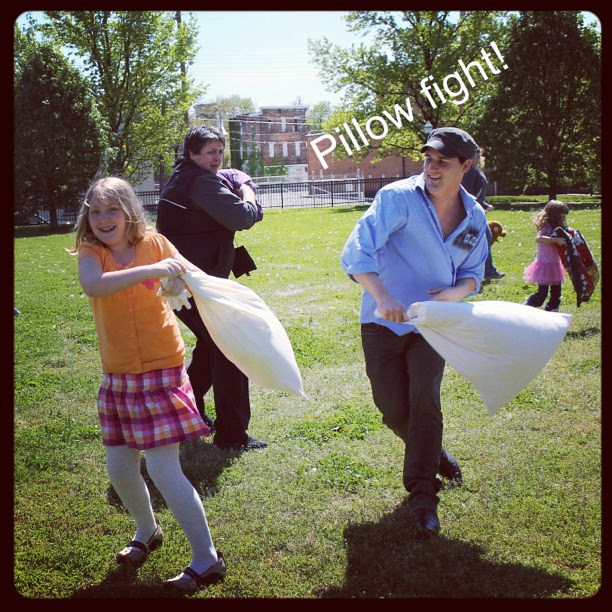 Neighborhood pillow fight in the park!